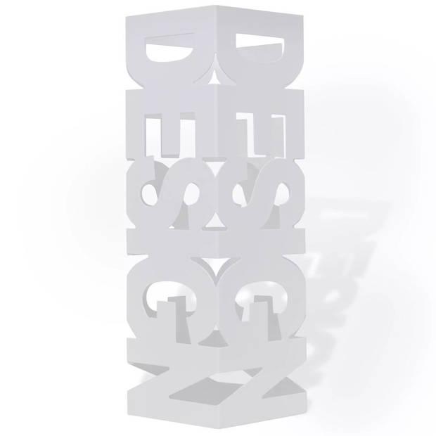 vidaXL Paraplu- en wandelstokhouder wit vierkant staal 48,5 cm