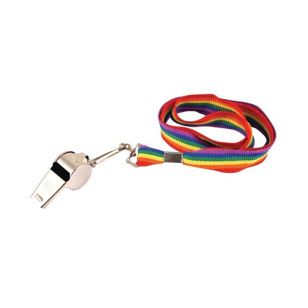 Regenboog gay pride kleuren keycord/koordje met fluitje - Regenboogvlag LHBT accessoires