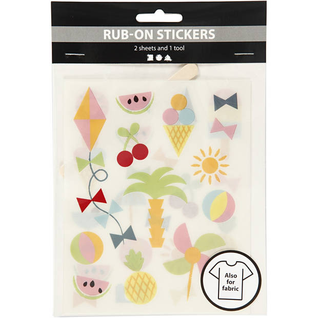 Creotime rub-on stickers zomer 12 x 15,5 cm