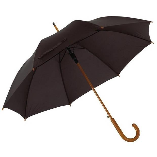 Zwarte paraplu met houten handvat 103 cm - Paraplu - Regen