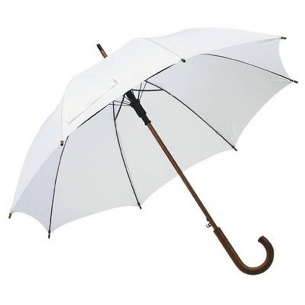 Witte paraplu met houten handvat 103 cm - Paraplu - Regen