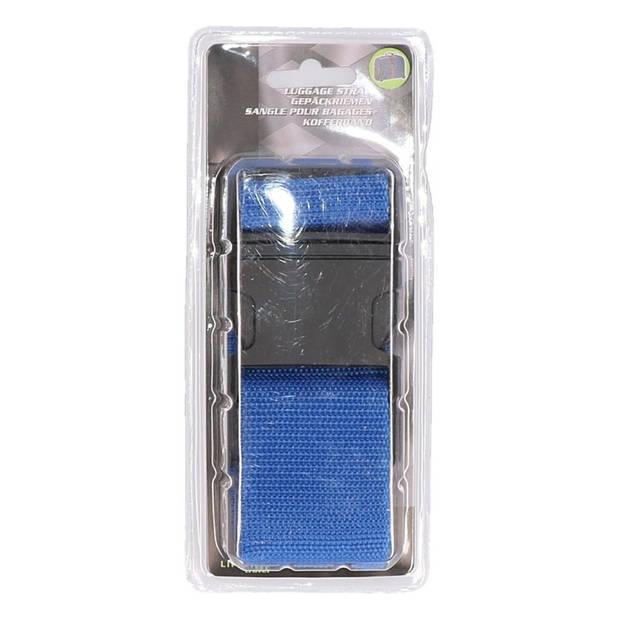 Bagageriem blauw - kofferband 100-180 cm