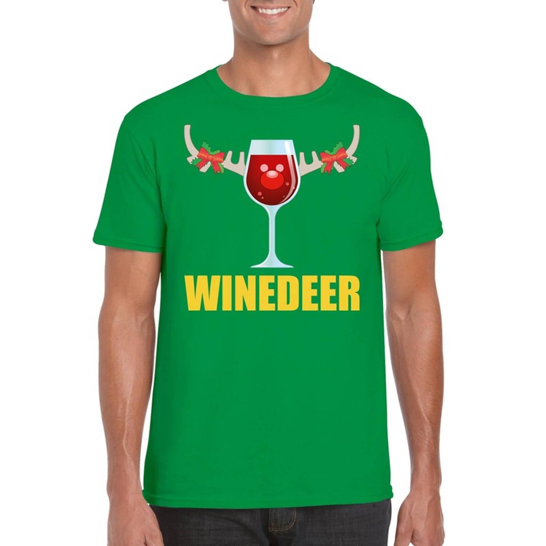 Foute Kerst t-shirt wijntje Winedeer groen voor heren 2XL