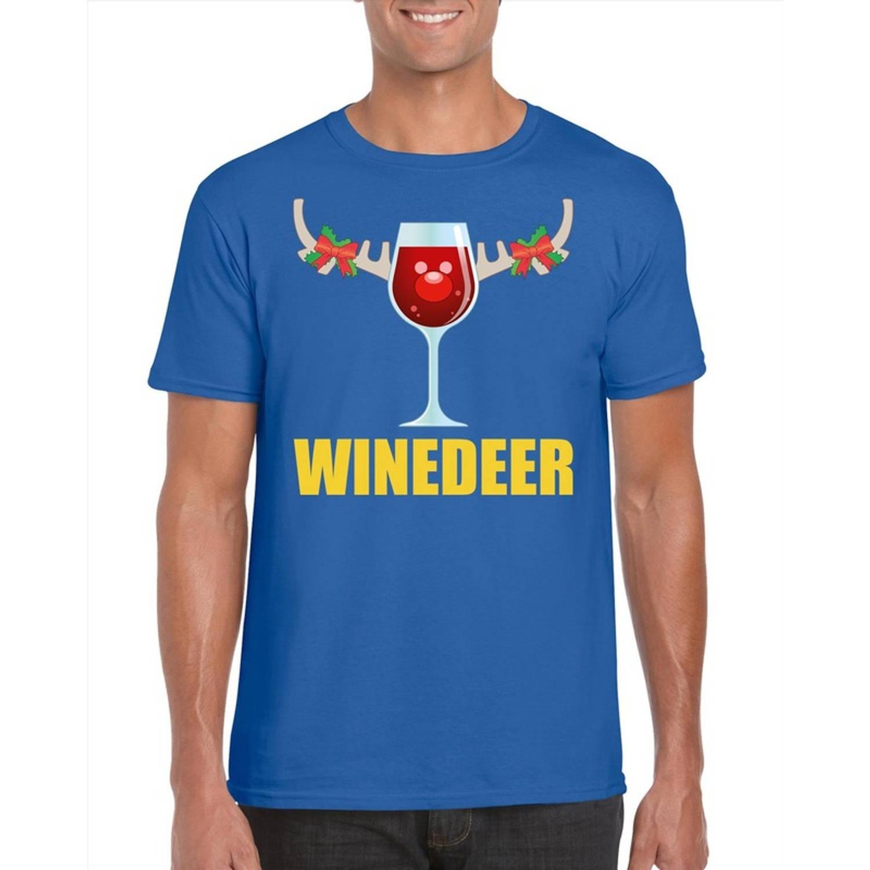 Foute Kerst t-shirt wijntje Winedeer blauw voor heren M