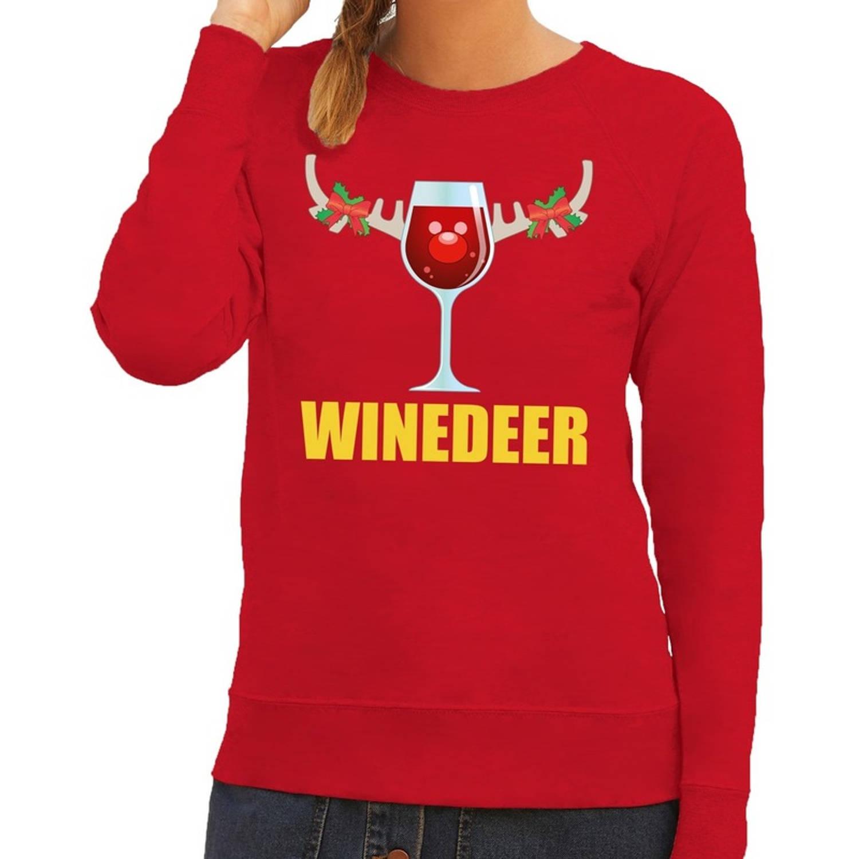 Foute kersttrui / sweater wijntje Winedeer rood voor dames - Kersttruien XS (34)