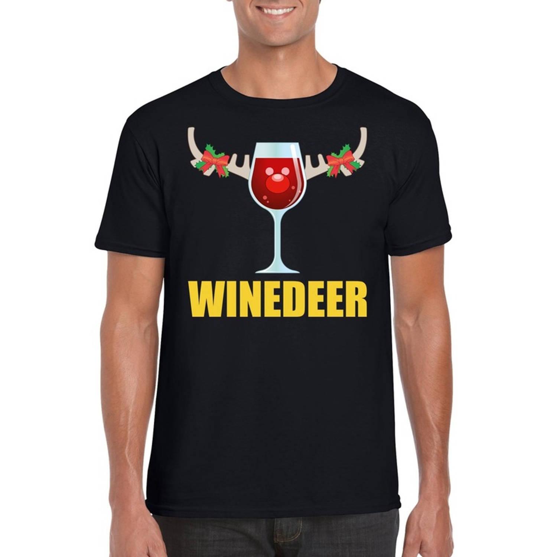 Foute Kerst t-shirt wijntje Winedeer zwart voor heren S