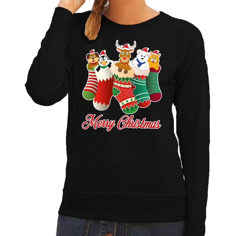 Foute Kersttrui / sweater kerstsokken met diertjes - Merry Christmas - zwart voor dames S (36)