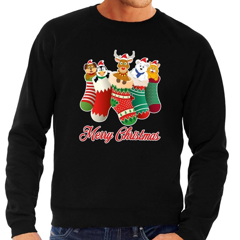 Foute Kersttrui / sweater kerstsokken met diertjes - Merry Christmas - zwart voor heren S (48)