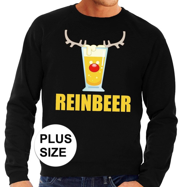 Image of Grote maten foute kersttrui / sweater met bierglas Reinbeer zwart voor heren - Kersttruien 4XL (60)