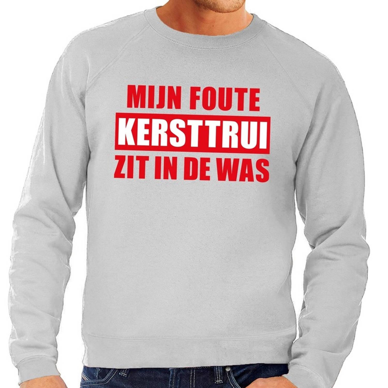 Foute kersttrui / sweater - grijs - Mijn Foute Kersttrui Zit In De Was voor heren 2XL (56)
