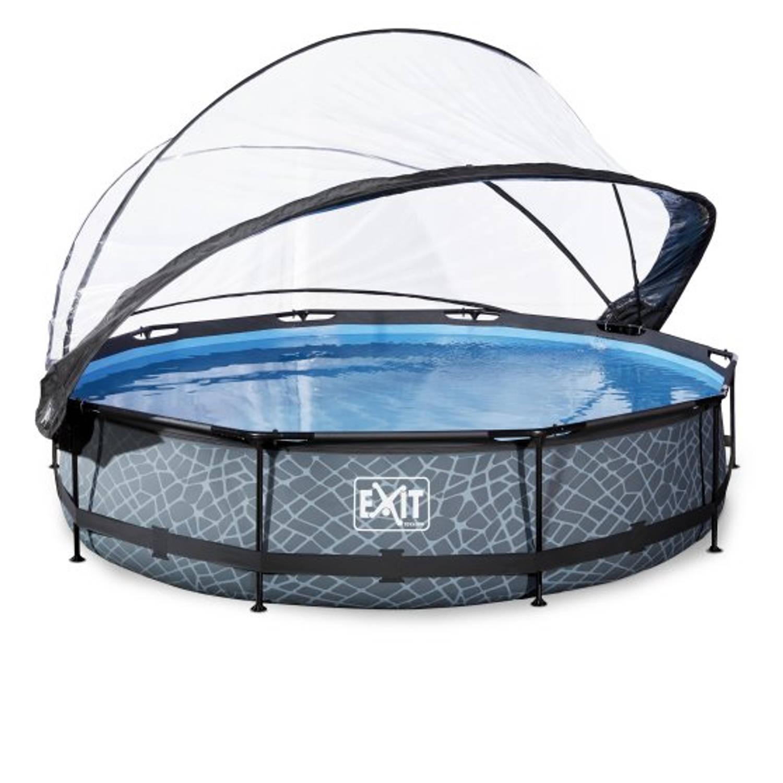 EXIT Stone zwembad o360x76cm met overkapping en filterpomp - grijs