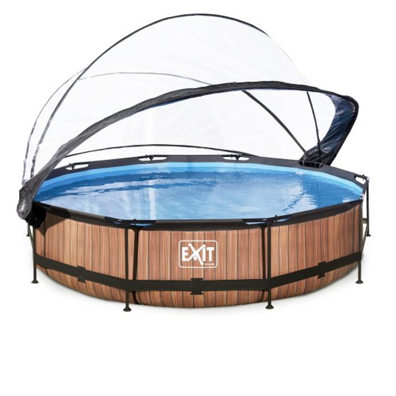EXIT Wood zwembad o360x76cm met overkapping en filterpomp - bruin