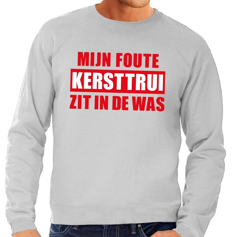 Foute kersttrui / sweater - grijs - Mijn Foute Kersttrui Zit In De Was voor heren M (50)