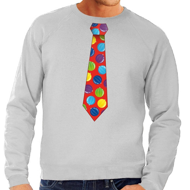 Foute kersttrui-sweater stropdas met kerstballen print grijs voor heren L (52)