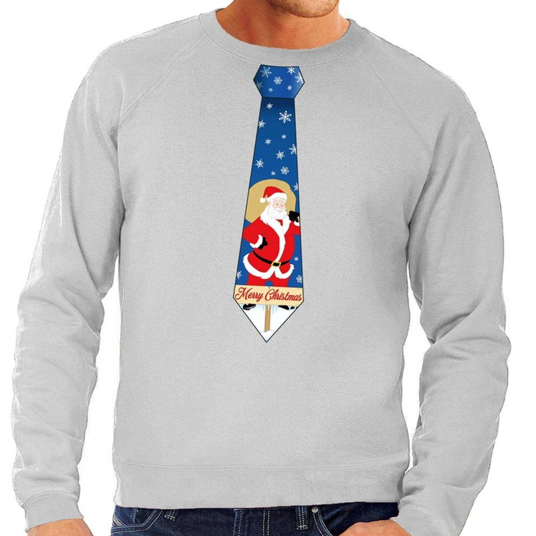 Foute kersttrui / sweater stropdas met kerstman print grijs voor heren 2XL (56)
