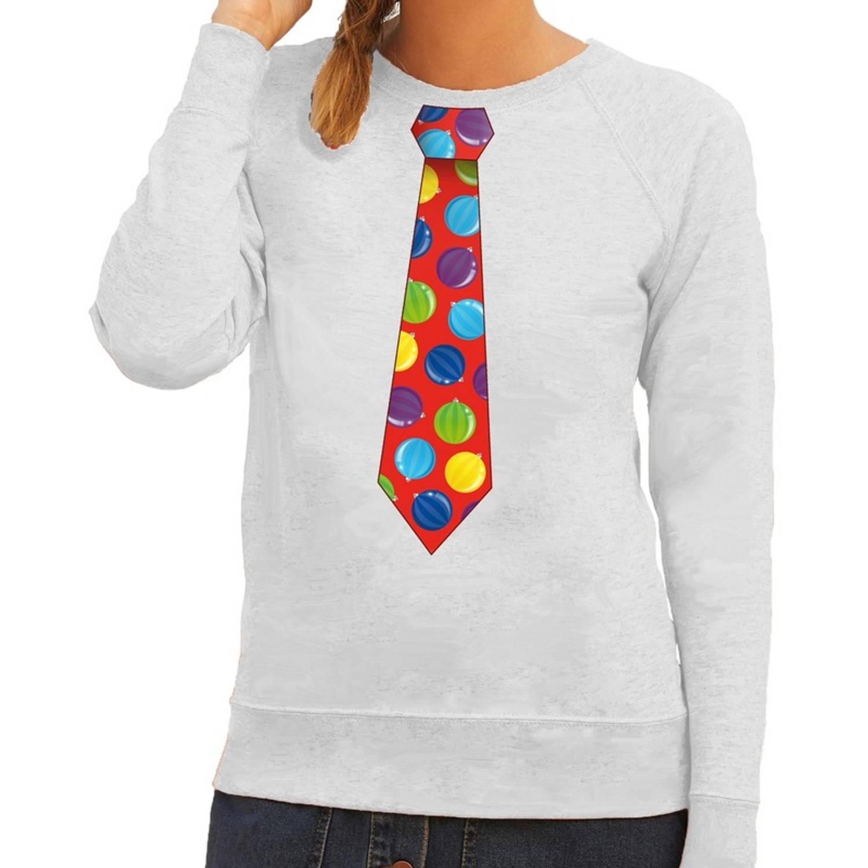 Foute kersttrui-sweater stropdas met kerstballen print groen voor dames XS (34)