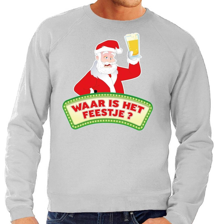 Foute kersttrui / sweater voor heren - grijs - Dronken Kerstman met biertje 2XL (56)