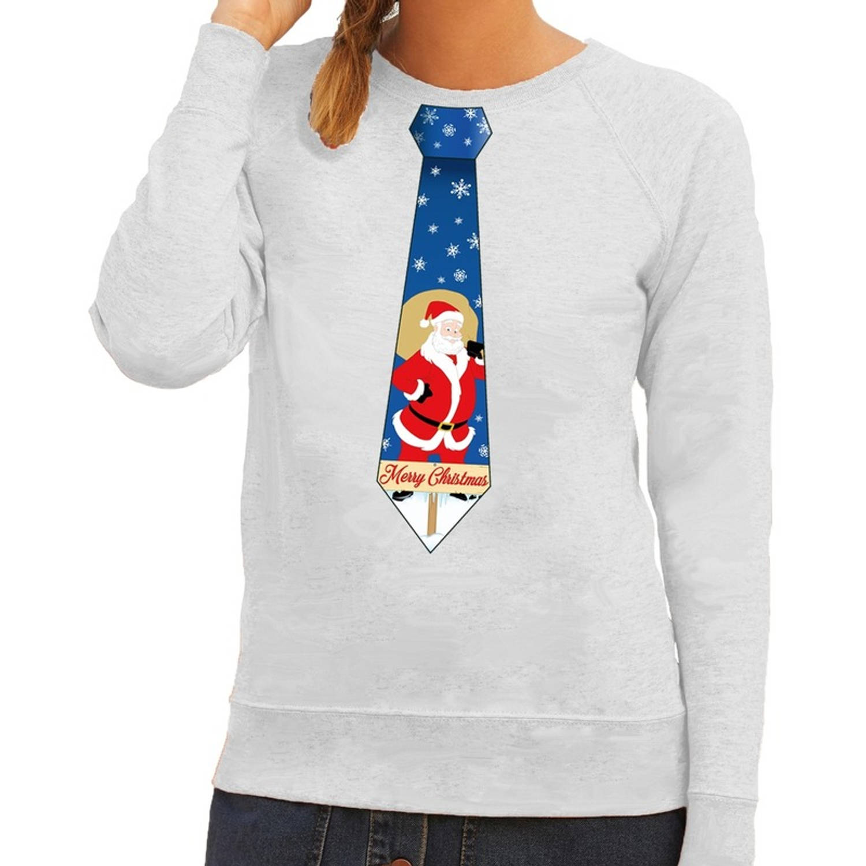 Foute Kersttrui - Sweater Stropdas Met Kerstman Print Grijs Voor Dames Xl (42)