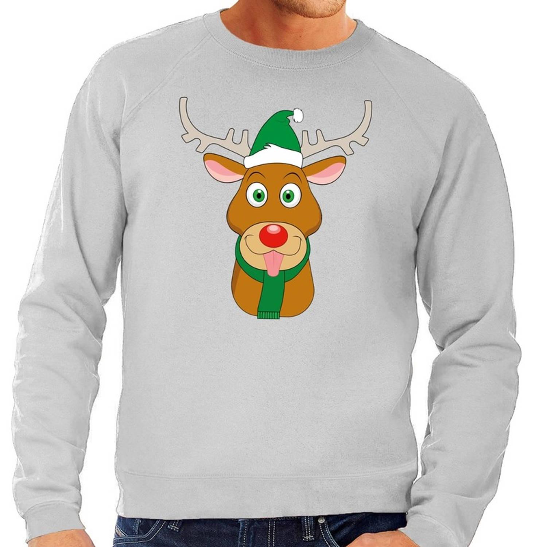 Foute kersttrui / sweater met Rudolf het rendier met groene kerstmuts grijs voor heren - Kersttruien S (48)