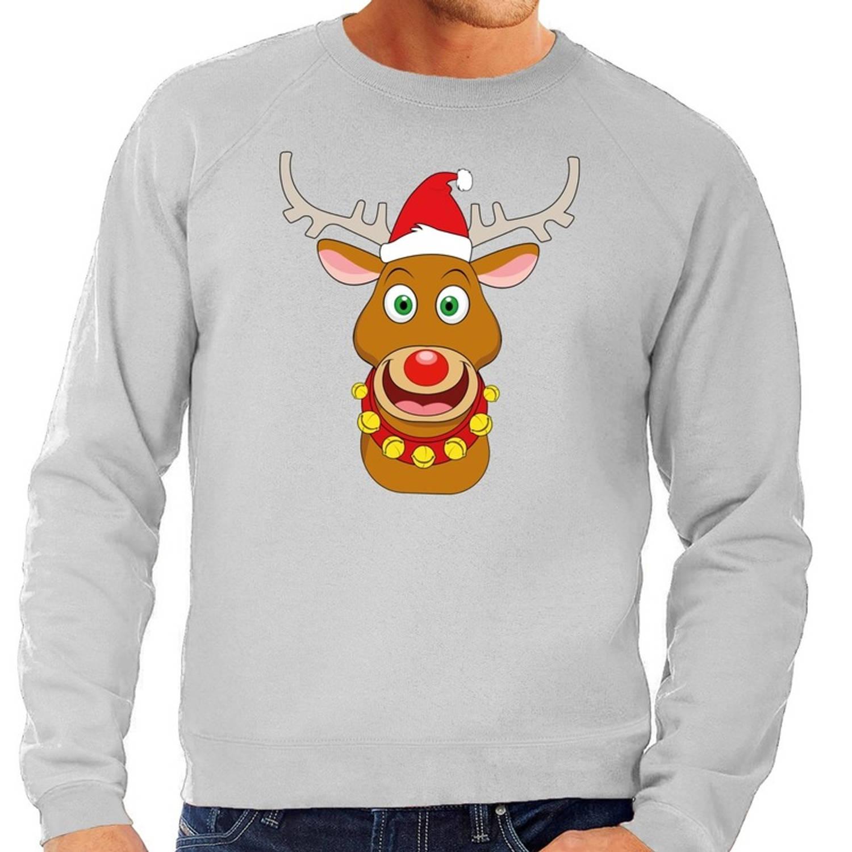 Foute kersttrui / sweater met Rudolf het rendier met rode kerstmuts grijs voor heren - Kersttruien 2XL (56)