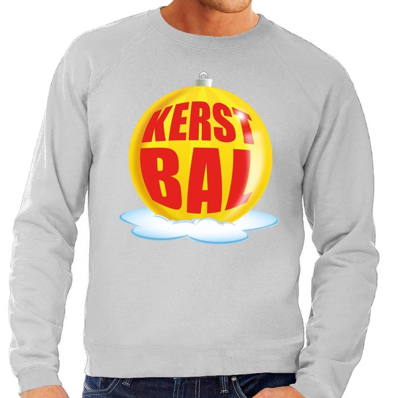 Foute kersttrui kerstbal geel op grijze sweater voor heren - kersttruien 2XL (56)