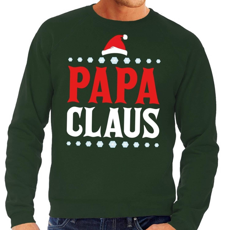 Foute kersttrui / sweater voor heren - groen - Papa Claus L (52)