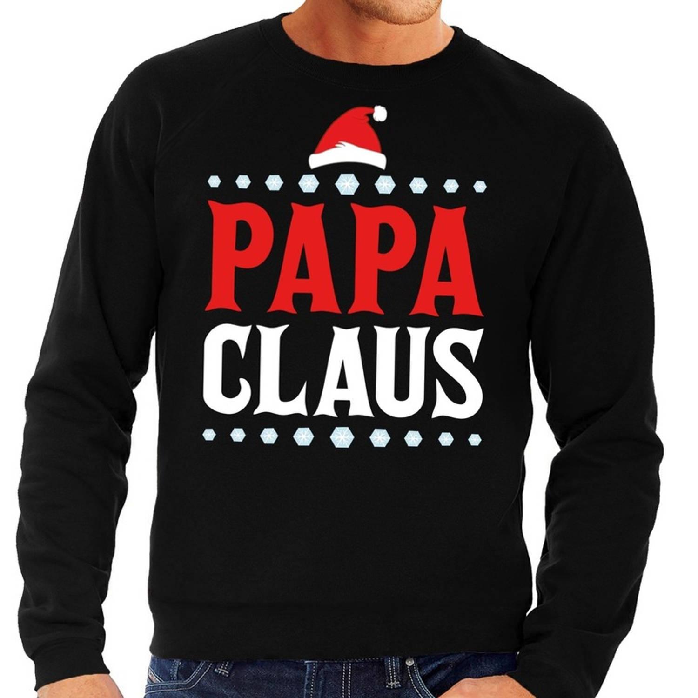 Foute kersttrui / sweater voor heren - zwart - Papa Claus XL (54)