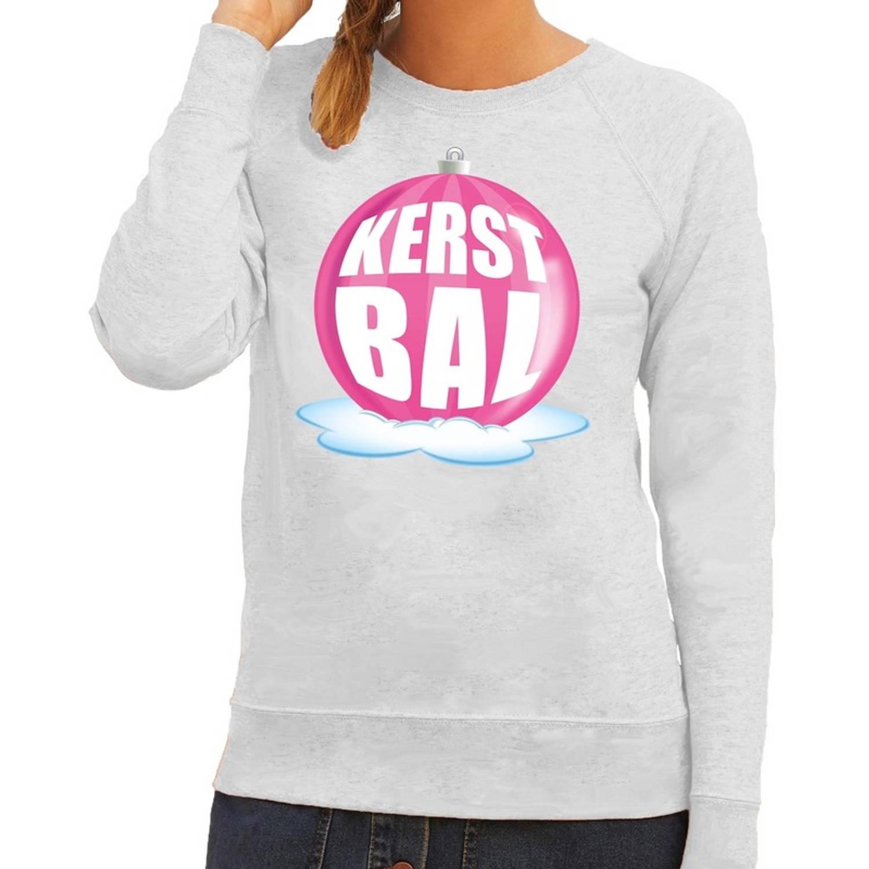 Foute kersttrui kerstbal roze op grijze sweater voor dames - kersttruien XS (34)