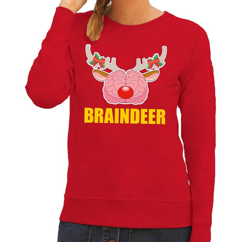 Foute kersttrui / sweater braindeer rood voor dames - Kersttruien M (38)