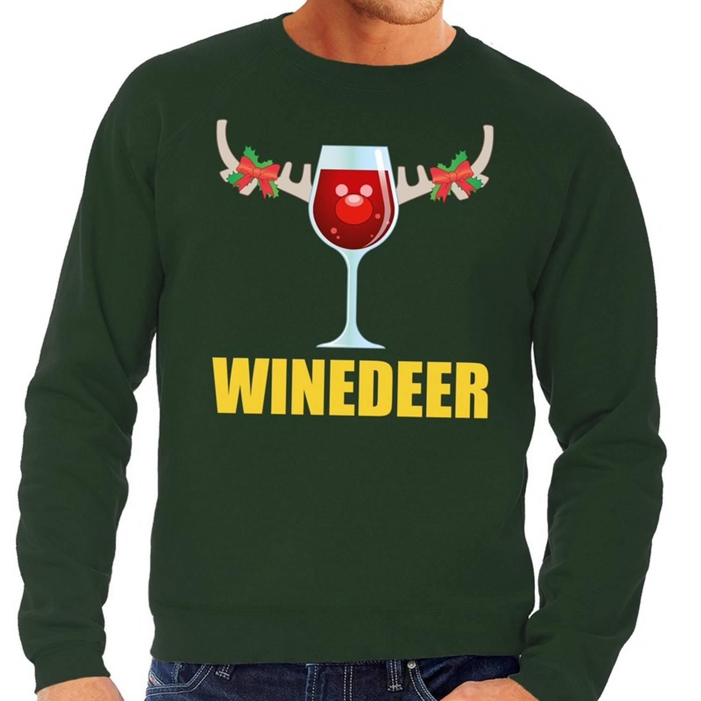 Foute kersttrui / sweater met wijnglas Winedeer groen voor heren - Kersttruien L (52)