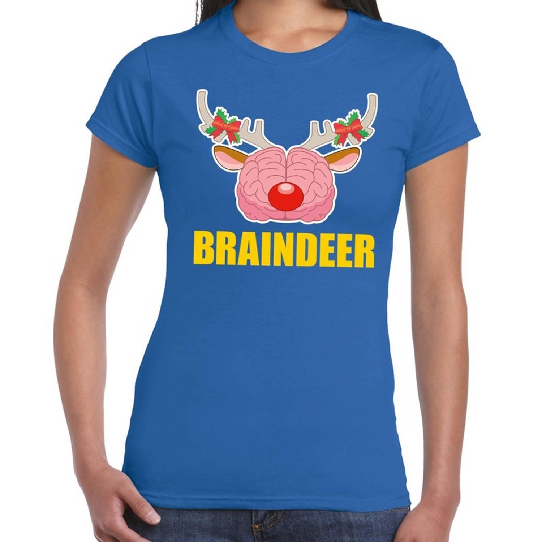 Foute Kerst t-shirt braindeer blauw voor dames M (38)
