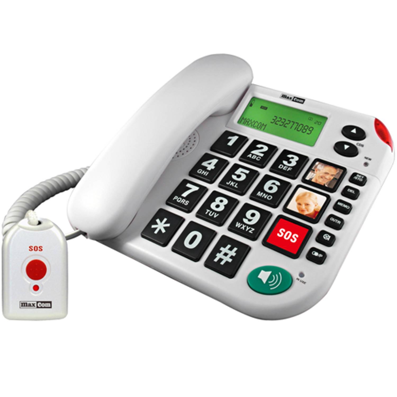 Slechtziend Maxcom KXT 481 huistelefoon met SOS halszender - Wit