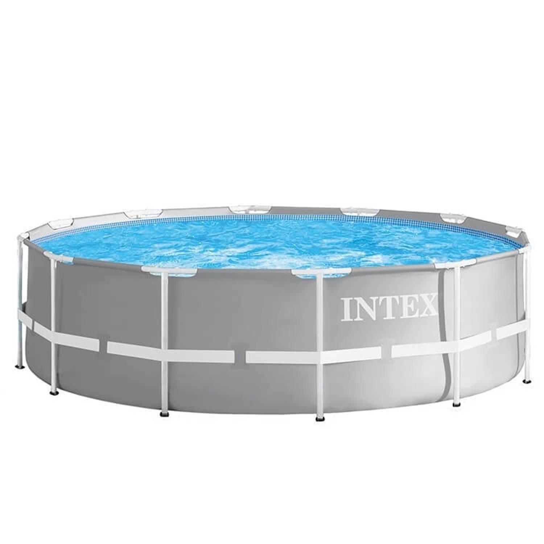 Intex opzetzwembad met filterpomp en ladder Prism Frame Ø366 x 99 cm grijs