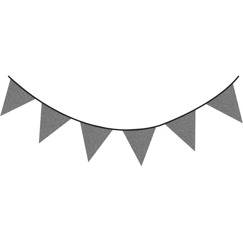 Korting Donkergrijze Glitter Vlaggenlijn 6 Meter