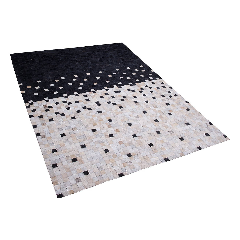 Beliani Erfelek Tapijt Zwart Echt leer 160 x 230 cm