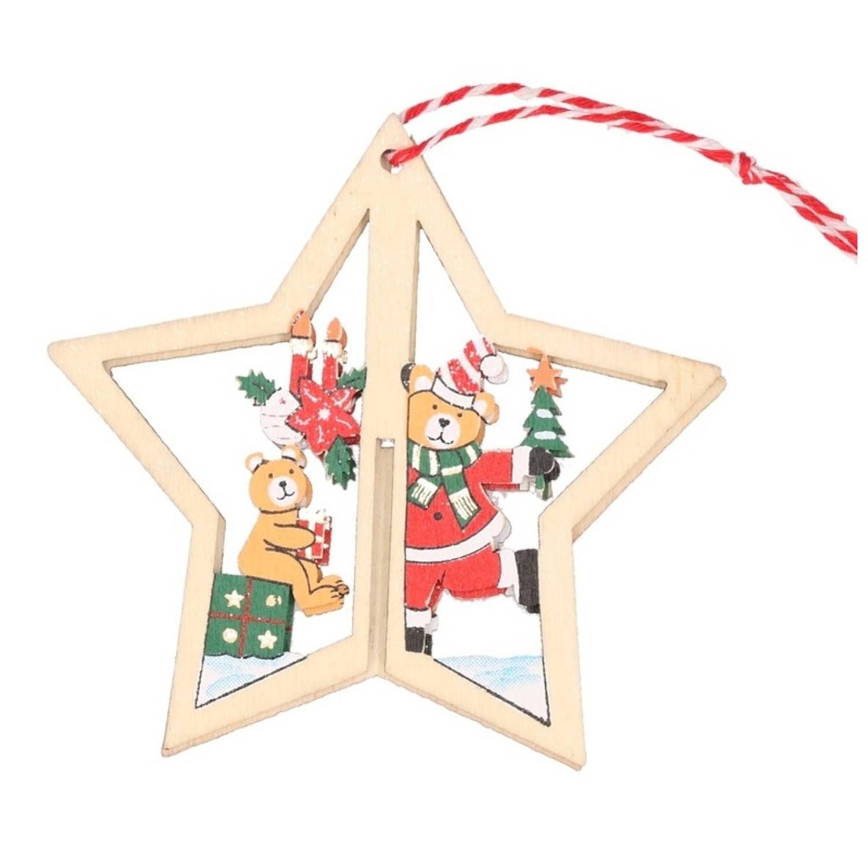 1x Kerstboomdecoratie Houten Kerstster Met Beren 10 Cm Kerstboomversiering Kerstdecoratie