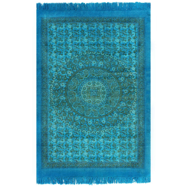 vidaXL Kelim vloerkleed met patroon 120x180 cm katoen turquoise