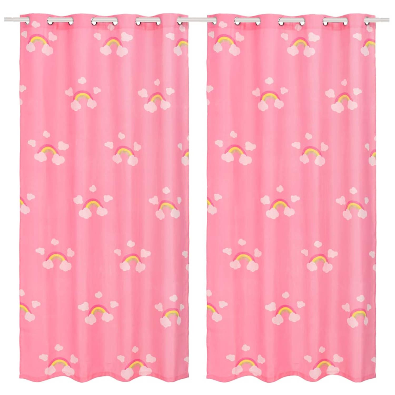 vidaXL Kindergordijnen verduisterend 140x240 cm regenboog roze 2 st