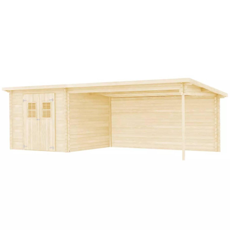 vidaXL Tuinhuis 7,3x3 m 28 mm massief hout