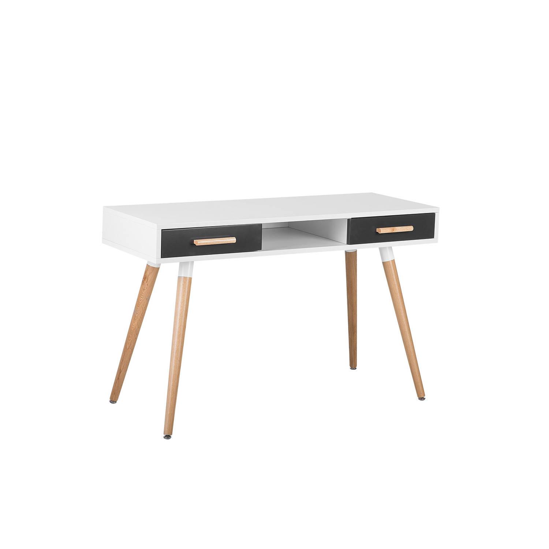Beliani Frisco Bureau Wit Verlijmd hout 120 x 55 cm