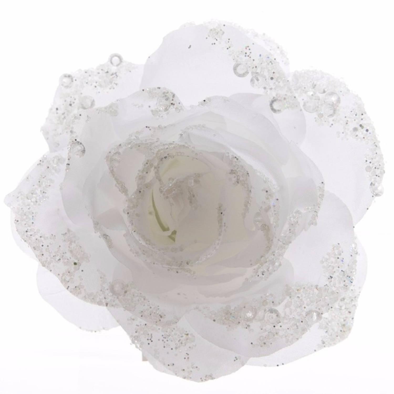 3x Kerstboom decoratie roos bloem winter wit 14 cm