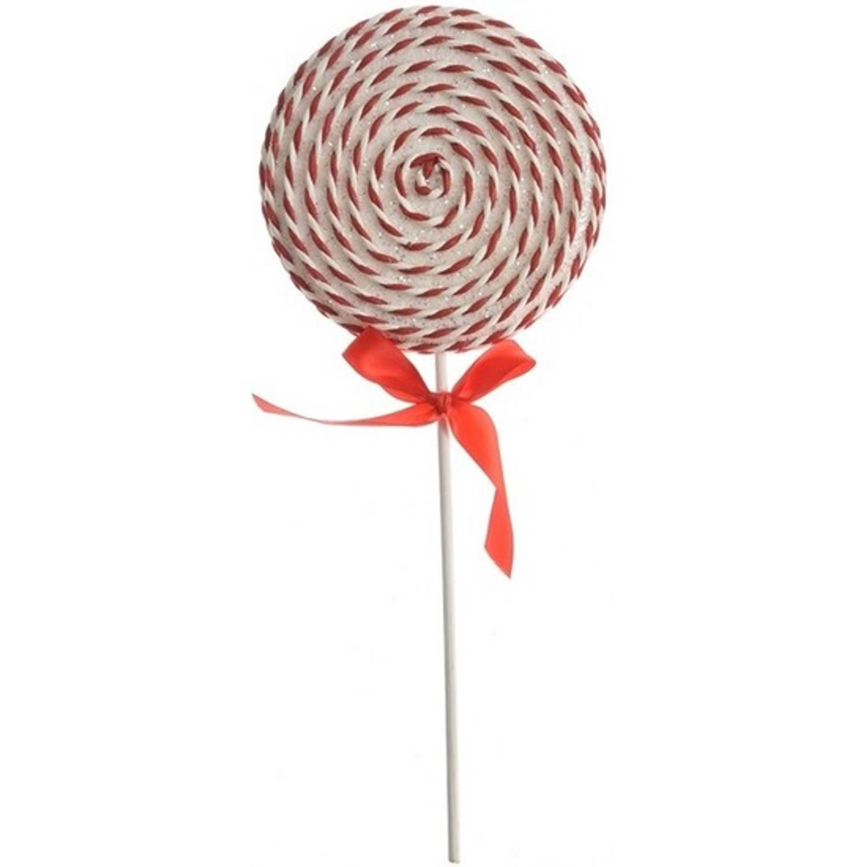 1x Kerstboomdecoratie Witte-rode Lolly Snoepgoed 36 Cm Kerstboomversiering Kerstdecoratie