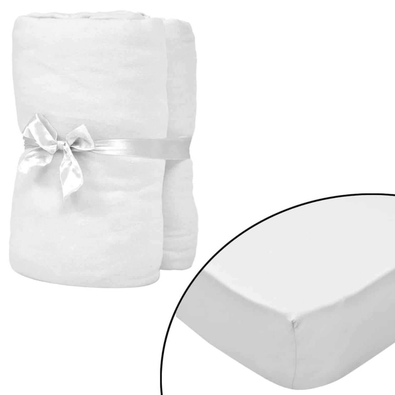 vidaXL Hoeslaken wieg 70x140 cm katoenen jersey stof wit 4 st