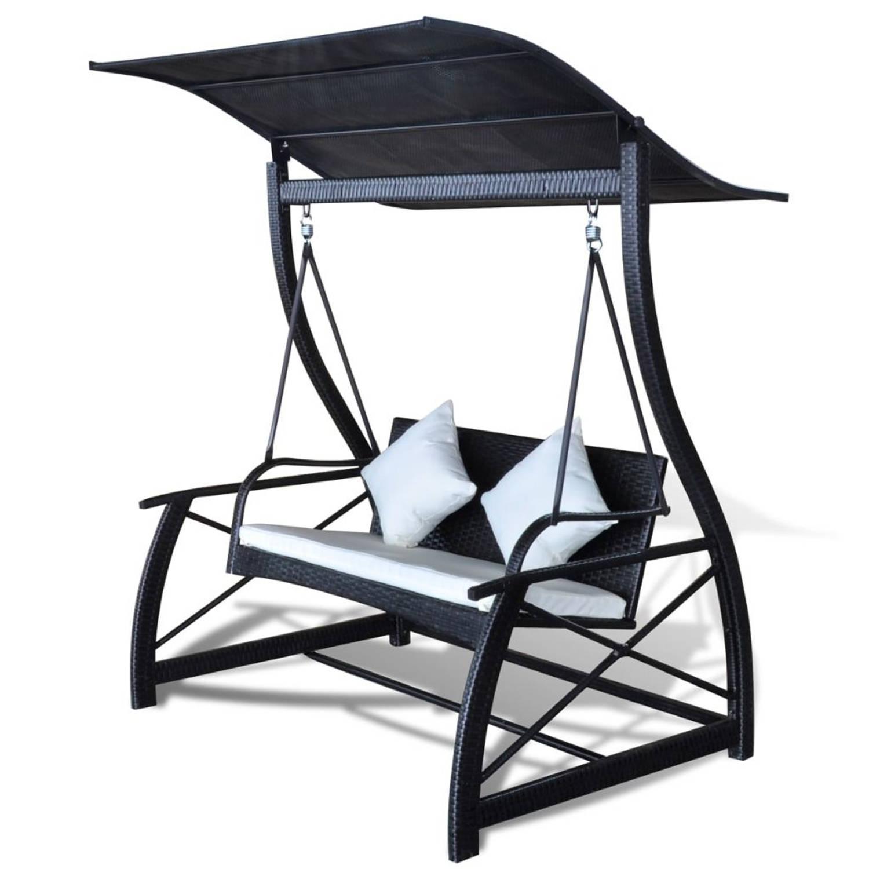 Image of vidaXL Schommelbank voor in de tuin poly rattan zwart 167x130x178 cm