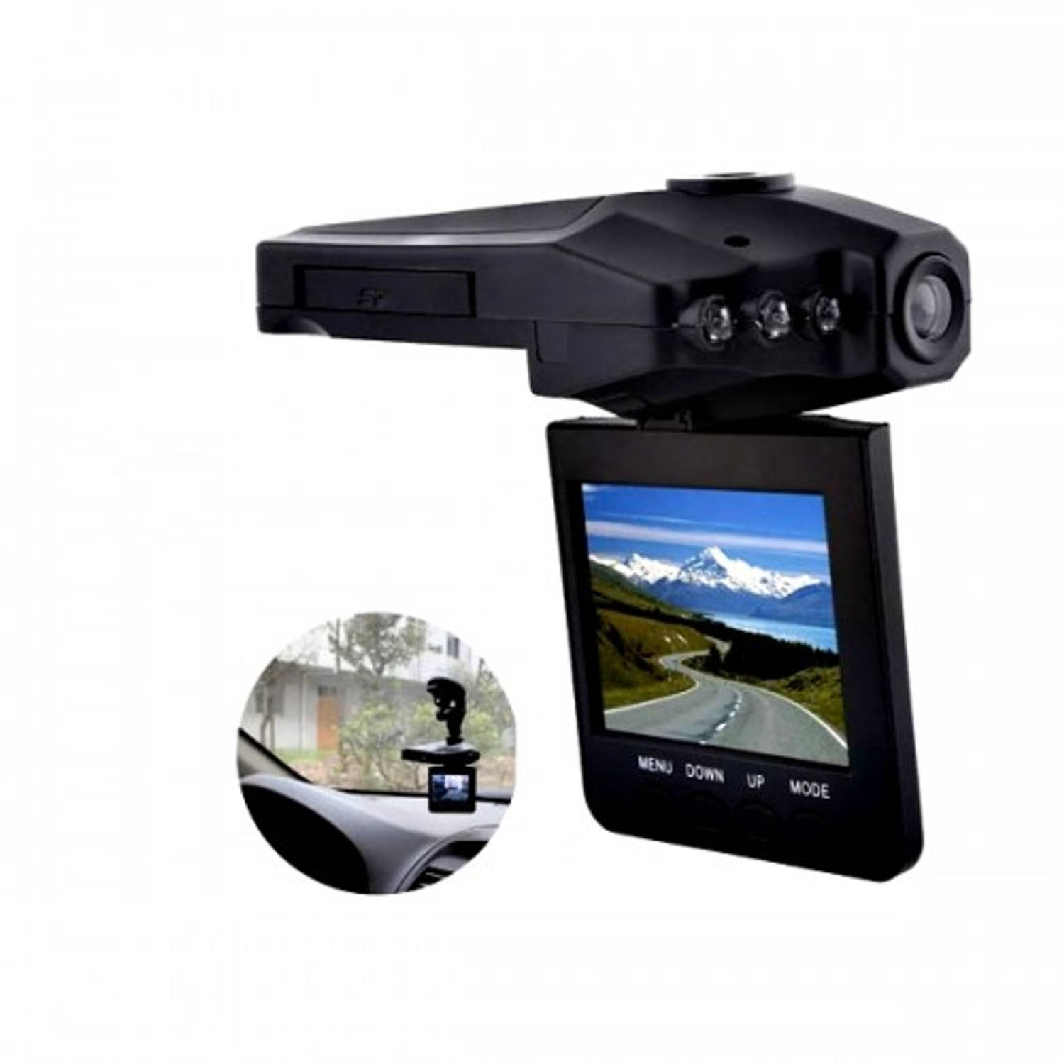 PO-188 Digitale Autovideo Camera - Dashcam - HD Ready - 2,5inch LCD - zwart