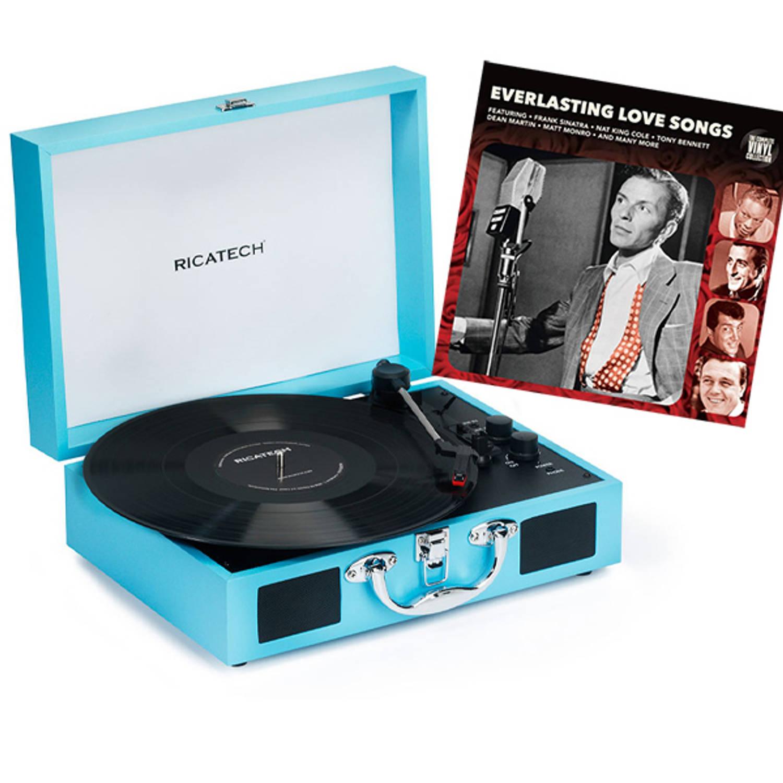 Ricatech RTT21 Retro Platenspeler Turquoise + Everlasting Love Songs LP