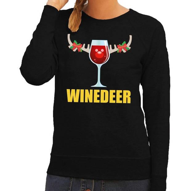 Foute kersttrui / sweater wijntje Winedeer zwart voor dames - Kersttruien S (36)