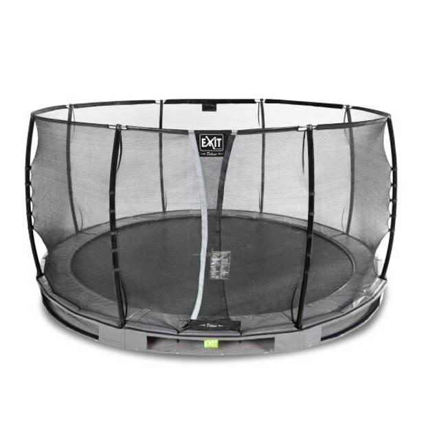 EXIT Elegant Premium inground trampoline ø427cm met Deluxe veiligheidsnet - grijs