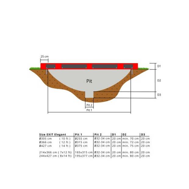 EXIT Elegant Premium inground trampoline ø427cm met Deluxe veiligheidsnet - rood