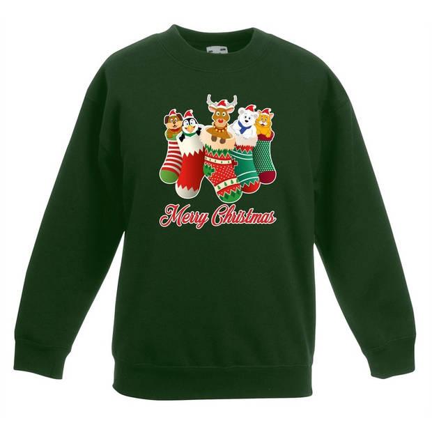 Kersttrui kerstsokken merry christmas groen voor kinderen - kersttruien 3-4 jaar (98/104)